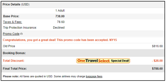 SFO-HAN onetravel final price